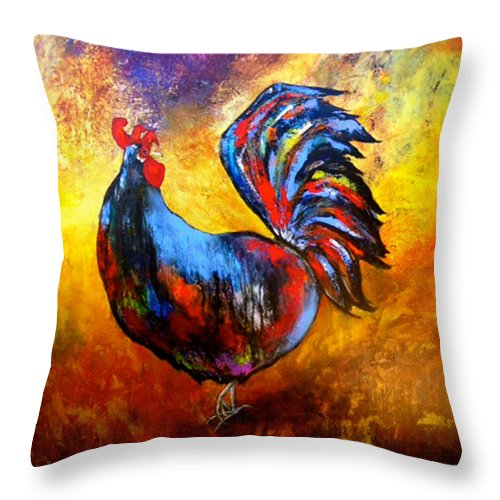 Birds Throw Pillow featuring the painting Gallo by Thelma Zambrano
