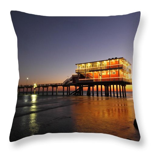 Texas Throw Pillow featuring the photograph Galveston Fishing Pier 2am-108856 by Andrew McInnes