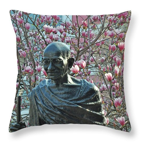 Gandi Throw Pillow featuring the photograph Union Square Gandhi With Magnolias by Diane Lent