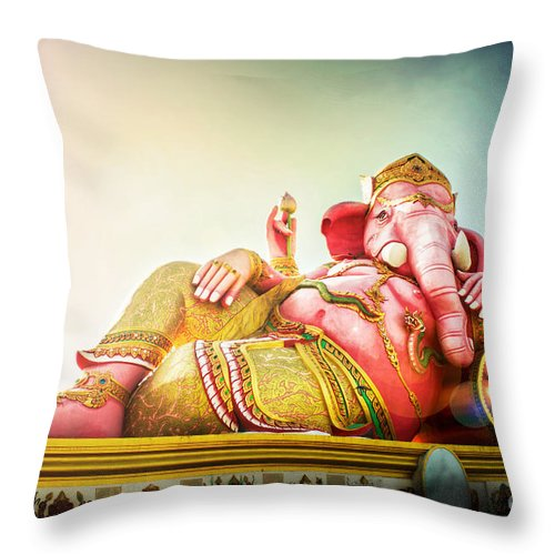 Indian Throw Pillow featuring the photograph Ganesh by Suriya Chuesuwan