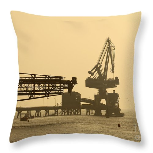 Industry Throw Pillow featuring the photograph Gantry Crane In Port by James Brunker