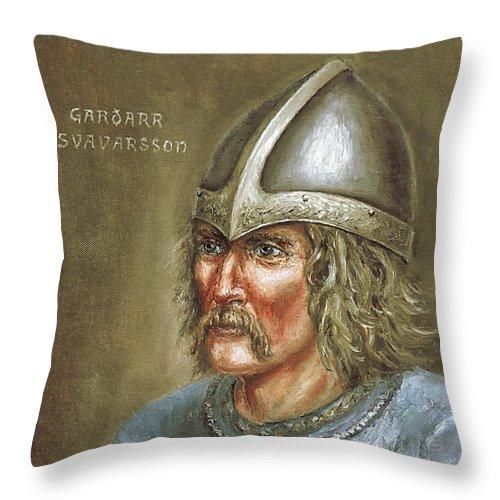Viking Throw Pillow featuring the painting Gardar Svavarsson by Arturas Slapsys
