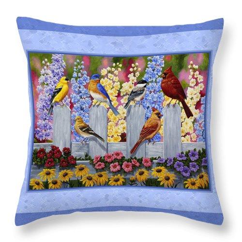 Throw Pillow Duvet Covers : Garden Birds Duvet Cover Blue Throw Pillow for Sale by Crista Forest
