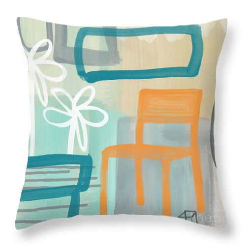 Abstract Throw Pillow featuring the painting Garden Chair by Linda Woods