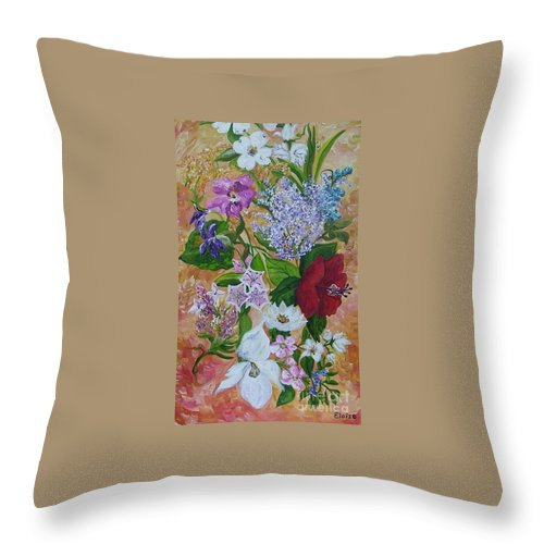 Flowers Throw Pillow featuring the painting Garden Delight by Eloise Schneider Mote