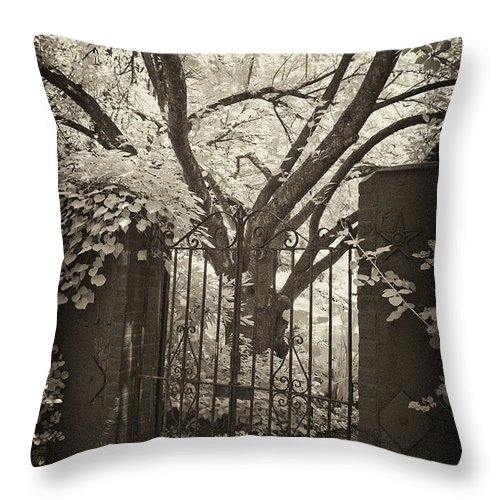 Gate Throw Pillow featuring the photograph Garden Gate by Paul W Faust - Impressions of Light