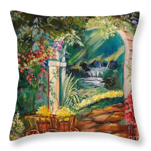 Garden Scene Throw Pillow featuring the painting Garden Of Serenity Beyond by Jenny Lee