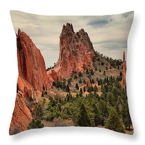 Garden Of The Gods Throw Pillow featuring the photograph Garden Of The Gods Jagged Peaks by Adam Jewell