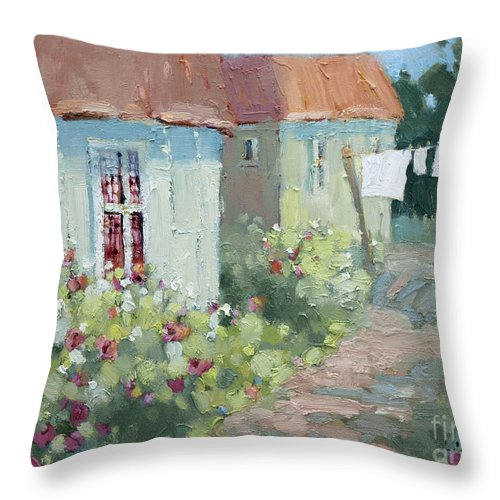 Cottages Throw Pillow featuring the painting Garden Path by Joyce Hicks