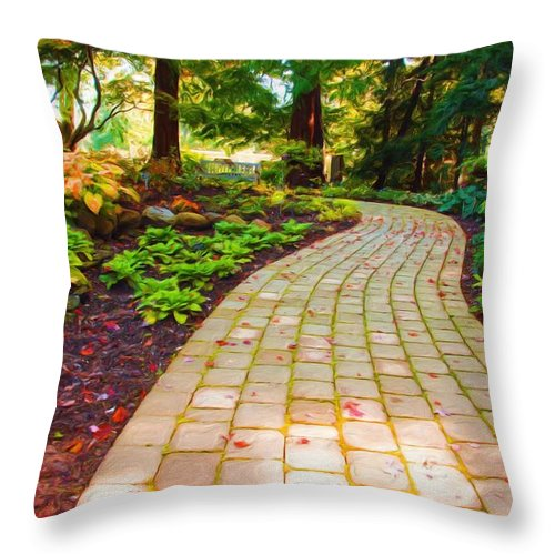 Mill Creek Metropark Throw Pillow featuring the painting Garden Path by Michelle Joseph-Long