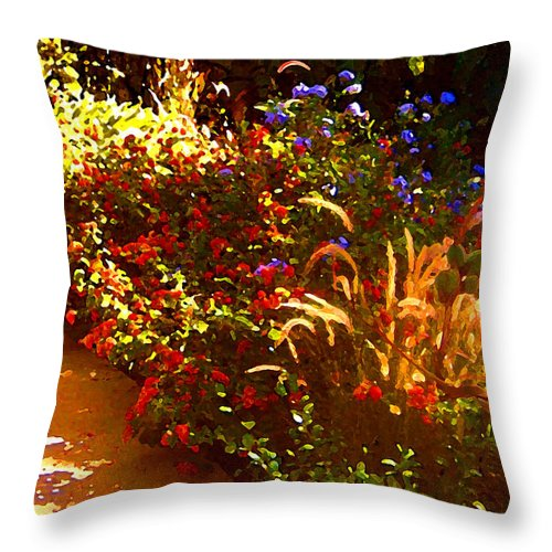 Throw Pillow featuring the painting Garden Pathway by Amy Vangsgard