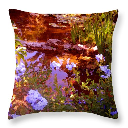 Landscapes Throw Pillow featuring the painting Garden Pond by Amy Vangsgard