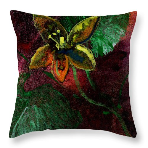 Flower Throw Pillow featuring the painting Garden Romance by Miko At The Love Art Shop