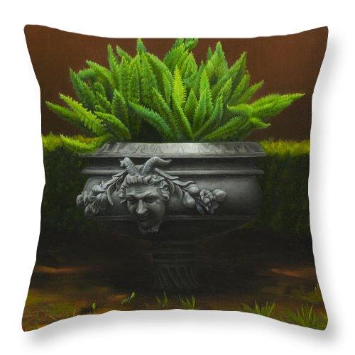 Garden Throw Pillow featuring the painting Garden Satyr by Gary Hernandez