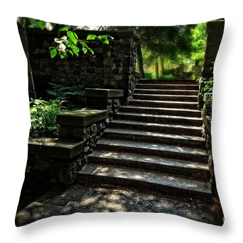 Garden Stairway Throw Pillow featuring the photograph Garden Stairway by Chris Fleming