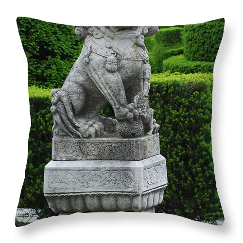 Longwood Throw Pillow featuring the photograph Garden Statue by Richard Bryce and Family
