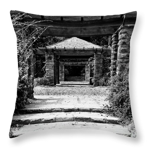 Landscape Throw Pillow featuring the photograph Garden Structure 1bw by Earl Johnson