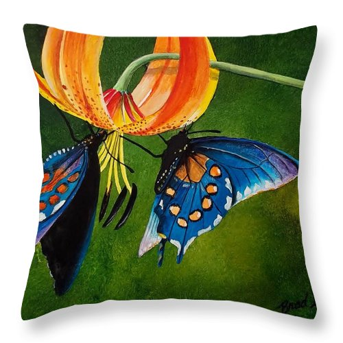 Watercolor Throw Pillow featuring the painting Garden Visitors by Brad Hook