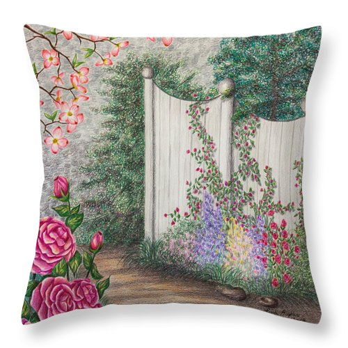 Color Pencil Throw Pillow featuring the drawing Garden Walkway by Lena Auxier
