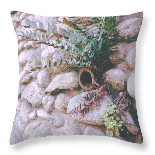 Stone Throw Pillow featuring the photograph Garden Wall by Judith Kitzes