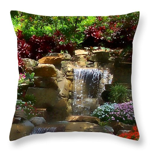 Garden Throw Pillow featuring the photograph Garden Waterfalls by Pharris Art