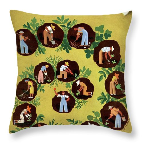 House And Garden Throw Pillow featuring the photograph Gardeners And Farmers by Witold Gordon