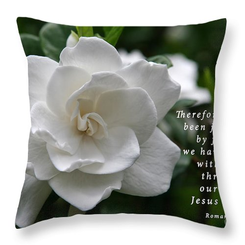 Gardenia Throw Pillow featuring the photograph Gardenia Bloom And Scripture by Jill Lang