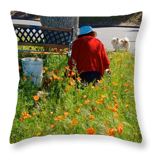 Gardening Distractions Throw Pillow featuring the photograph Gardening Distractions In Park Sierra-california by Ruth Hager
