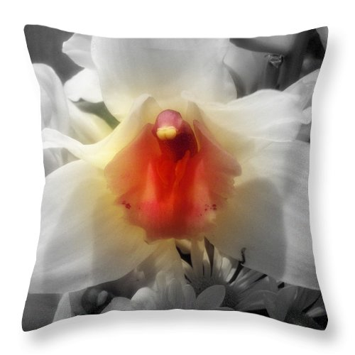 Orchid Throw Pillow featuring the photograph Gardian Angel by Becky Bunting