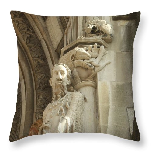 Throw Pillow featuring the photograph Gargoyle And The Lamb by Katerina Naumenko