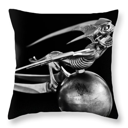 Gargoyle Throw Pillow featuring the photograph Gargoyle Hood Ornament 2 by Jill Reger
