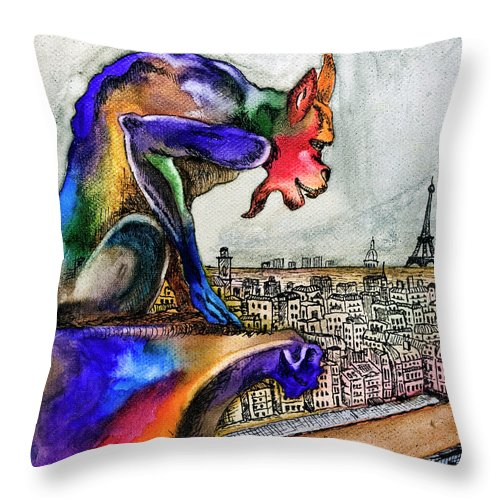 Gargoyle Throw Pillow featuring the painting Gargoyle Of Color by David Ter-Avanesyan