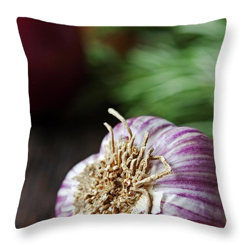 Wood Throw Pillow featuring the photograph Garlic And Vegetables On A Rustic by John W Banagan