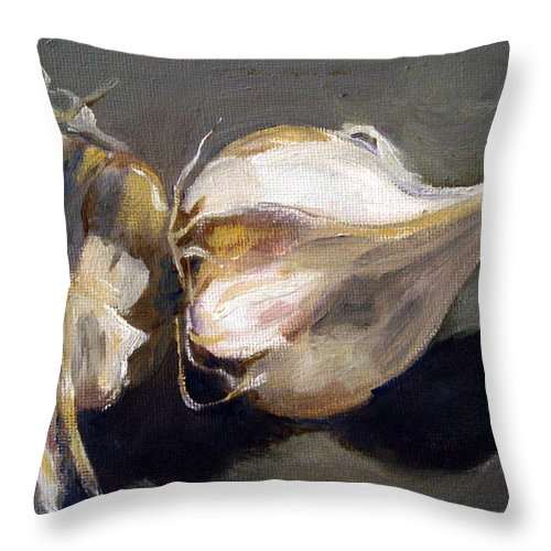 Still-life Throw Pillow featuring the painting Garlic by Sarah Lynch
