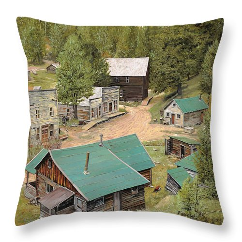 Ghost Town Throw Pillow featuring the painting Garnet In Montana by Guido Borelli