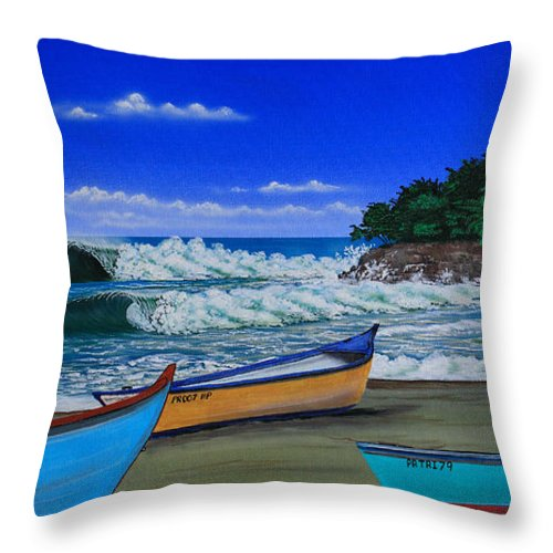 Carribean Throw Pillow featuring the painting Gas Chambers Puerto Rico by Marty Calabrese