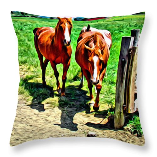 Horses Throw Pillow featuring the photograph Gate Horse by Alice Gipson
