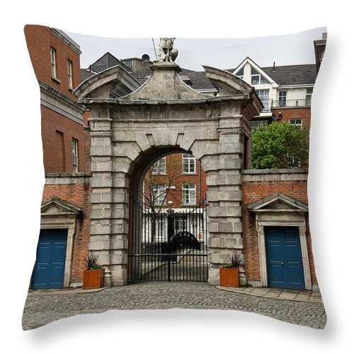 Gate Of Fortitude Throw Pillow featuring the photograph Gate Of Fortitude - Dublin Castle by Christiane Schulze Art And Photography