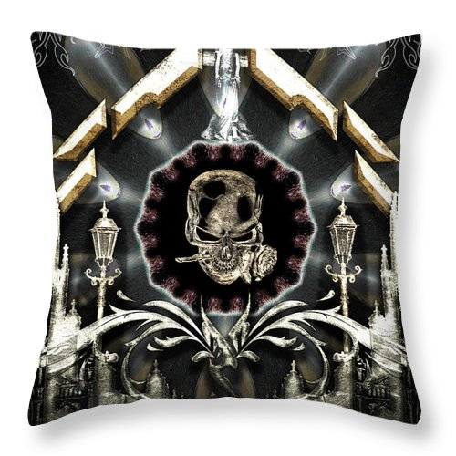 Gateway To Babalon Throw Pillow featuring the digital art Gateway To Babalon by Michael Damiani