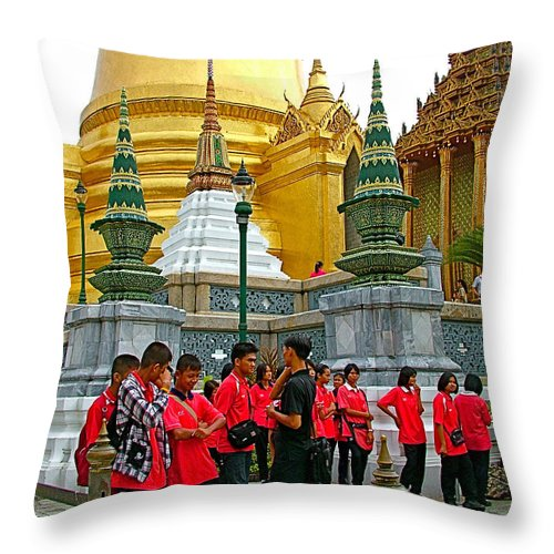 Gathering Near Pagodas Of Grand Palace Of Thailand In Bangkok Throw Pillow featuring the photograph Gathering Near Pagodas Of Grand Palace Of Thailand In Bangkok by Ruth Hager