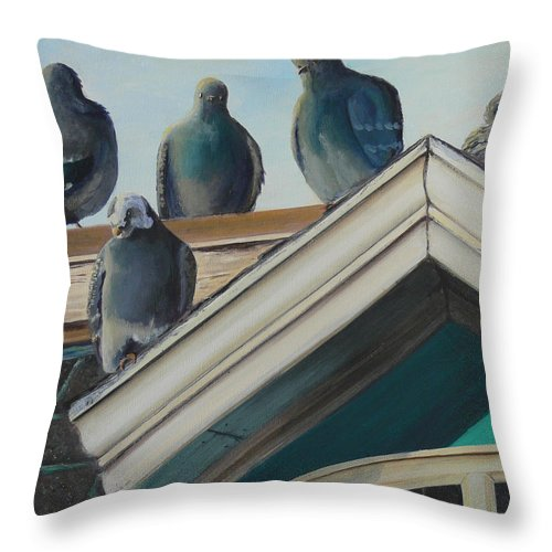 Pei Throw Pillow featuring the painting Gathering Of The Clan by Lorraine Vatcher