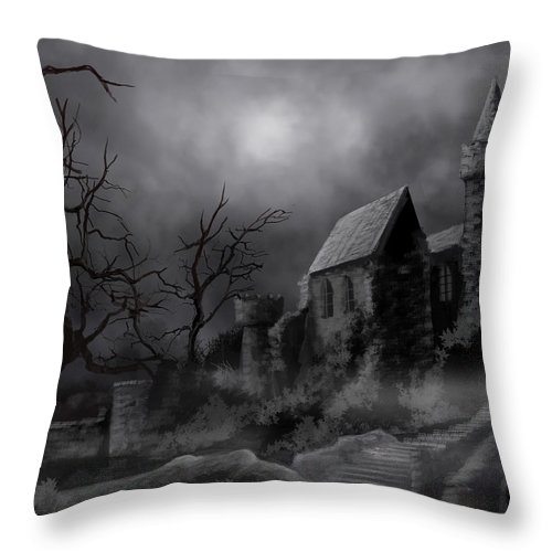 Castle Throw Pillow featuring the painting Gathluma's Castle by James Christopher Hill