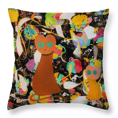 Gatita Fillet Meow Pussy Cat Big Small Colorful Humorous Whimsical Funny Green Black Playful Immagination Cats Lines Yellow White Brown Golden Beige Eyes Kitten Kittens Collar Sitting Looking Abstract Original Throw Pillow featuring the painting Gatita - Fillet Meow by David Mintz