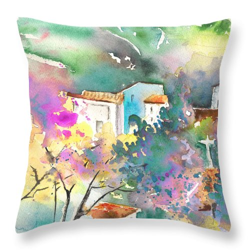 Travel Throw Pillow featuring the painting Gatova Spain 01 by Miki De Goodaboom