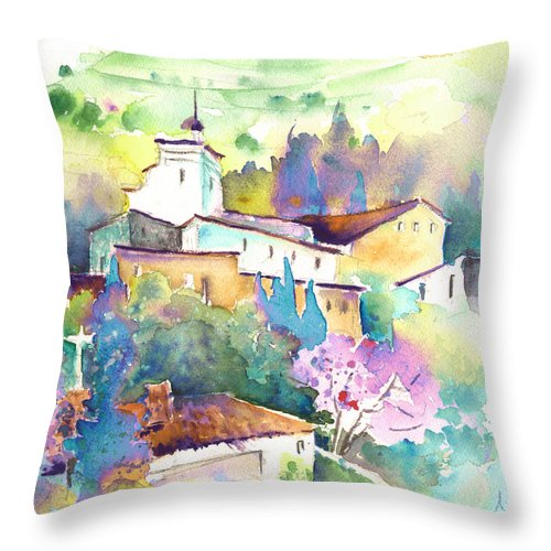 Travel Throw Pillow featuring the painting Gatova Spain 02 by Miki De Goodaboom