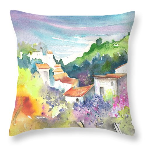 Spain Throw Pillow featuring the painting Gatova Spain 03 by Miki De Goodaboom
