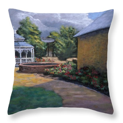Potter Throw Pillow featuring the painting Gazebo In Potter Nebraska by Jerry McElroy