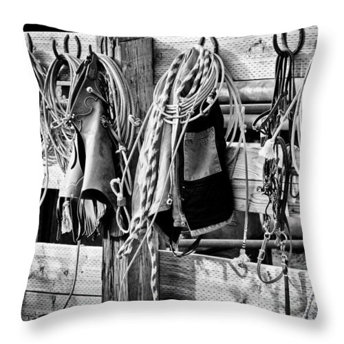 Black Throw Pillow featuring the photograph Gear For The Day by JoJo Photography