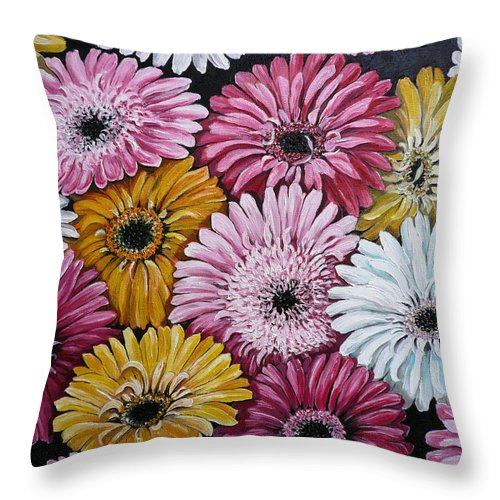 Flower Paintings Daisy Paintings Floral Paintings Blooms Color .gerbera Daisy Paintings Greeting Card Painting S Canvas Painting Poster Print Paintings Throw Pillow featuring the painting Gebera Daisies by Karin Dawn Kelshall- Best