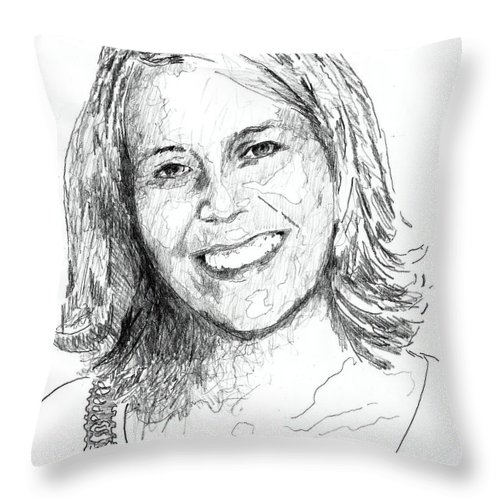 Throw Pillow featuring the drawing Gee-gee by Shawn Vincelette